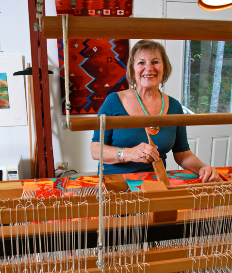 Cilla at her loom.